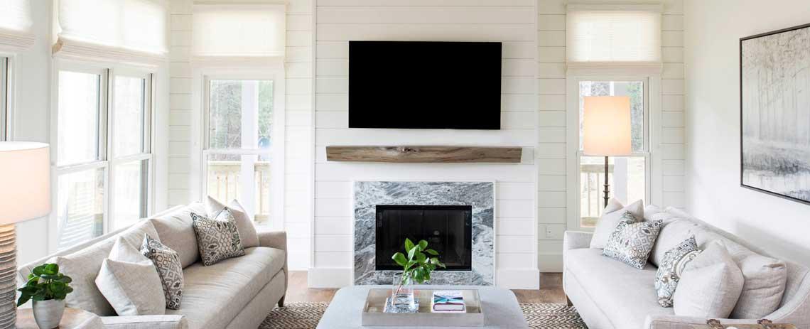 Custom living room by Sineath Construction