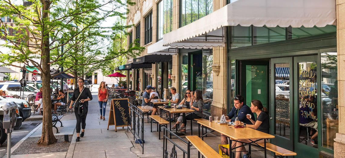 Outdoor seating downtown Asheville downtown restaurant