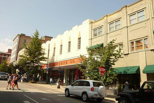 Woolworth building front from street, downtown Asheville, NC