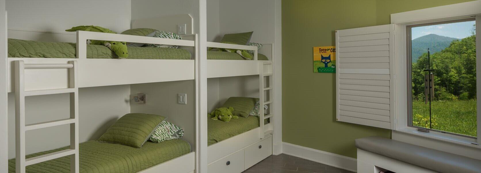 green-bunk-beds