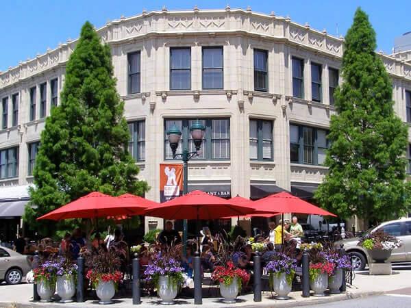 Corner of historic Grove Arcade building, Asheville, NC