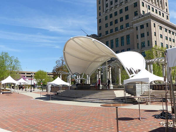 Public arena in Pack Square, downtown Asheville, NC